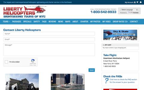 Screenshot of Contact Page libertyhelicopter.com - Contact Liberty Helicopters Today! - Liberty Helicopter   Sightseeing Tours New York   Tours In NY   City Tour of NYC   Call (800) 542-9933 - captured Nov. 7, 2016