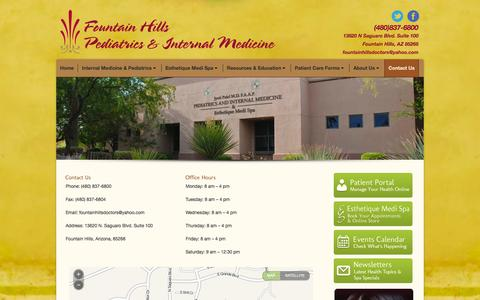 Screenshot of Contact Page fountainhillsdoctors.com - Fountain Hills Pediatrics and Internal Medicine |   Contact us - captured Oct. 8, 2014