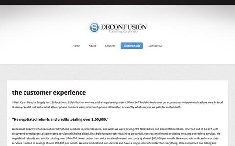 Screenshot of Testimonials Page deconfusion.com - Deconfusion · Telecommunications consulting, Voice and Data Services - captured Oct. 5, 2014