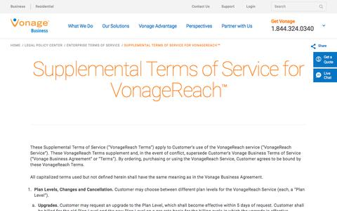 Supplemental Terms of Service for VonageReach™ | Vonage Business