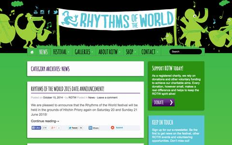 Screenshot of Press Page rotw.org.uk - News | Rhythms of the World - captured Oct. 26, 2014