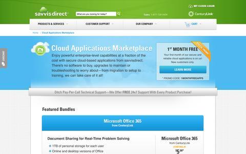 Screenshot of Products Page savvisdirect.com - Cloud Applications Marketplace   savvisdirect - captured Oct. 31, 2014