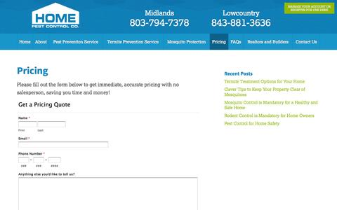 Screenshot of Pricing Page homepest.com - Home Pest Control Pricing Charleston SC | Lawn Pest Control - captured Oct. 3, 2014