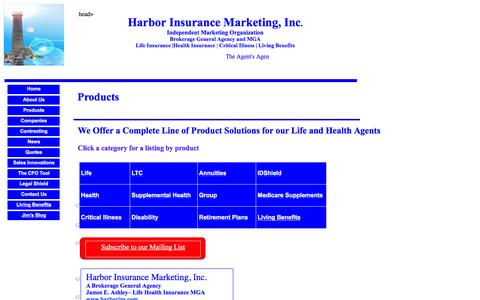 Screenshot of Products Page harborins.com - Life and Health Products, Wholesale Insurance Brokerage General Agency - captured Jan. 26, 2016