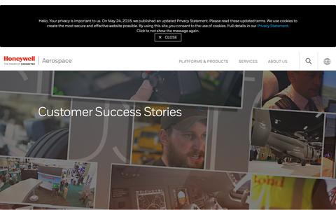 Screenshot of Case Studies Page honeywell.com - Customer Success Stories - captured July 27, 2018