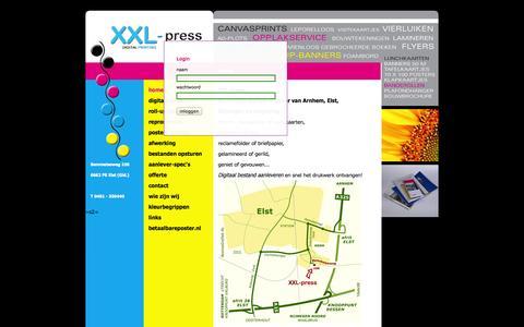 Screenshot of Login Page xxlpress.nl - XXL press : digitaal drukken - captured Oct. 27, 2014