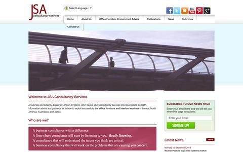 Screenshot of About Page jsacs.com - Office Furniture Consultants of JSA Consultancy Advice On Business Furniture For Sale - captured Oct. 6, 2014