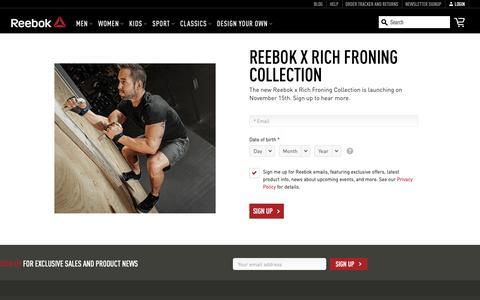 Screenshot of Signup Page reebok.com - Froning Signup - captured Nov. 2, 2018