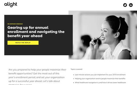 Screenshot of Landing Page alight.com - Gearing up for annual enrollment and navigating the year ahead | Alight Solutions - captured Sept. 19, 2018
