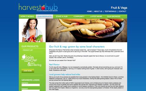 Screenshot of Products Page harvesthub.com.au - Fruit & Vegs | Products | Harvest Hub - captured Sept. 29, 2014