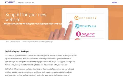 Screenshot of Support Page dsm-design.co.uk - Support Packages for Wordpress, Magento and Enhance - captured Jan. 7, 2016
