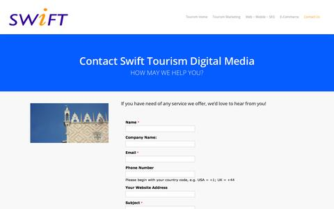 Screenshot of Contact Page swift-tourism.com - Contact Swift Tourism Digital Media |  Swift Tourism Digital Media, Marketing & E-Commerce Development - captured March 7, 2016