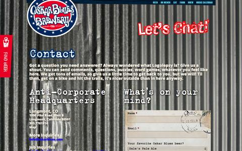 Screenshot of Contact Page oskarblues.com - Contact - Oskar Blues - captured Sept. 25, 2014