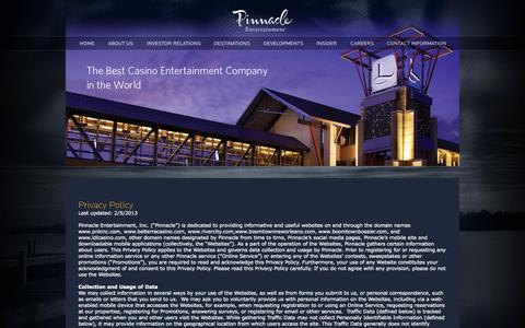 Screenshot of Privacy Page pnkinc.com - Privacy Policy » Pinnacle Entertainment, Inc. - captured Sept. 19, 2014