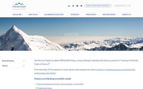 Screenshot of Jobs Page starmountaincapital.com - Star Mountain Capital - Brett Hickey - Careers Page - captured Nov. 8, 2017