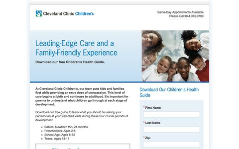 Screenshot of Landing Page clevelandclinic.org - Children's Health Guide | Cleveland Clinic Children's - captured May 26, 2018