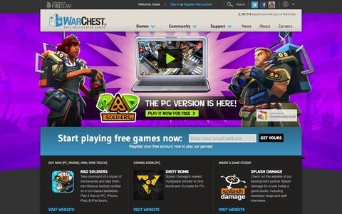 Screenshot of Home Page warchest.com - WarChest | Free Multiplayer Games - captured Sept. 23, 2014
