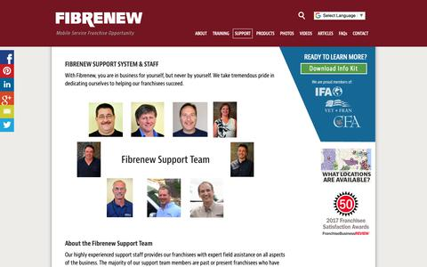 Screenshot of Support Page fibrenew-franchising.com - Fibrenew Franchise Support | Fibrenew Franchising: Mobile Service Business - captured Oct. 10, 2018