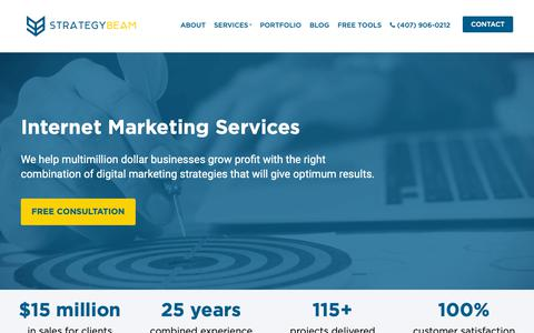 Screenshot of Services Page strategybeam.com - Internet Marketing Services   StrategyBeam - captured March 15, 2019