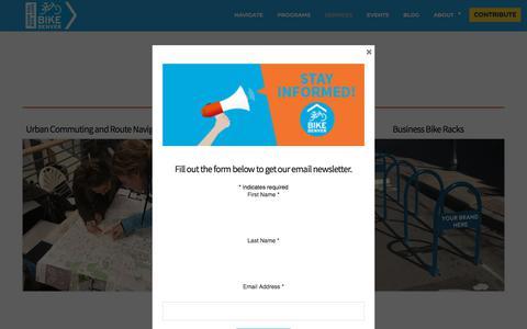 Screenshot of Services Page bikedenver.org - Services – BikeDenver - captured Aug. 2, 2018