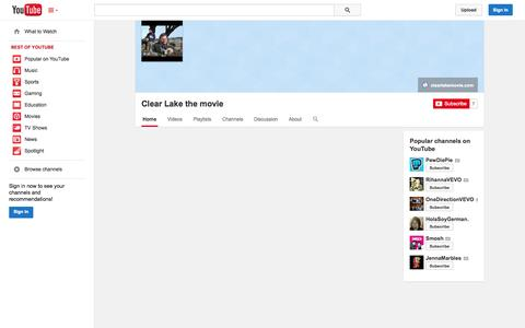 Screenshot of YouTube Page youtube.com - Clear Lake the movie  - YouTube - captured Oct. 28, 2014