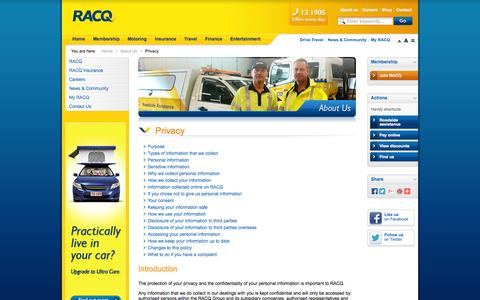 Screenshot of Privacy Page racq.com.au - Privacy               | About Us | RACQ - captured Sept. 19, 2014