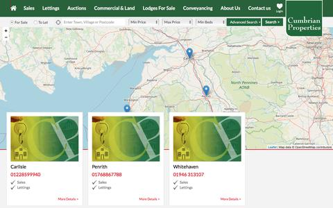 Screenshot of Contact Page cumbrian-properties.co.uk - Cumbrian Properties branch list - captured July 23, 2018