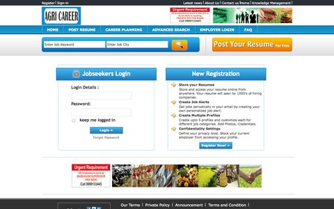 Screenshot of Login Page agricareer.in - Agri Career - Recruitment - Jobs - Agriculture - captured Sept. 30, 2014