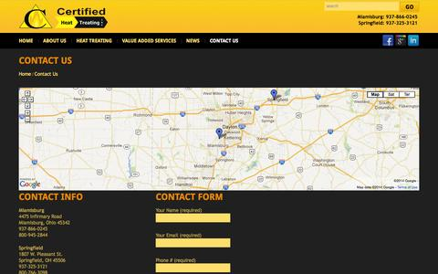 Screenshot of Contact Page heattreating.com - Contact Us  |  Certified Heat Treating Inc. - captured Oct. 2, 2014