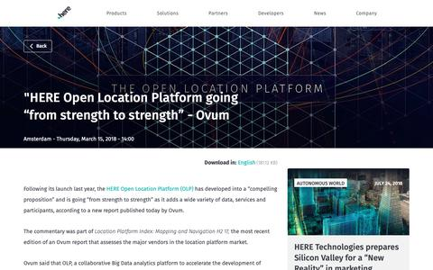"Screenshot of Press Page here.com - ""HERE Open Location Platform going ""from strength to strength"" - Ovum - captured June 4, 2019"