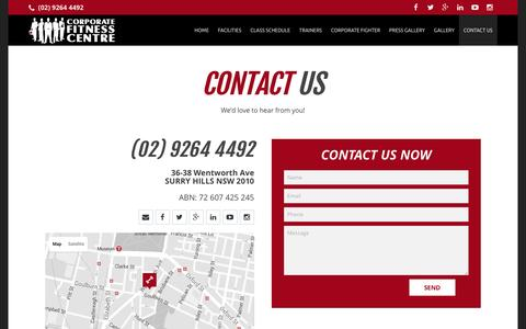 Screenshot of Contact Page corporatefitnesscentre.com.au - CONTACT US - Corporate Fitness Centre - captured July 16, 2016