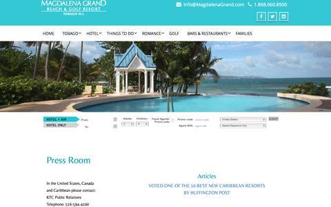 Screenshot of Press Page magdalenagrand.com - Press Room | Magdalena Grand Beach & Golf Resort - captured Nov. 19, 2016
