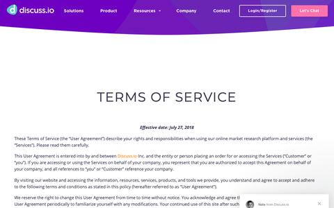 Screenshot of Terms Page discuss.io - Nate says… - captured Nov. 6, 2018