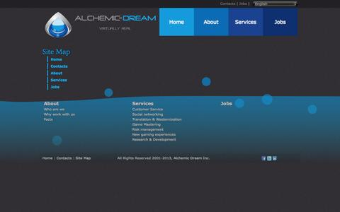 Screenshot of Site Map Page alchemicdream.com - Site Map - Alchemic Dream - captured Sept. 30, 2014