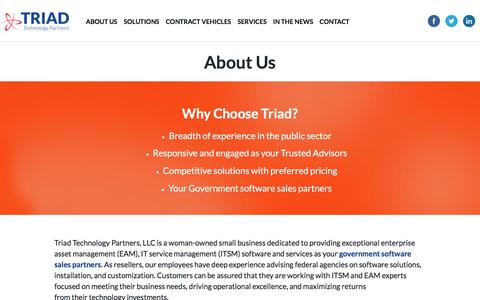 Screenshot of About Page triadtechpartners.com - Government Software Sales Partners | Triad Technology Partners Triad Technology Partners - captured Dec. 6, 2016