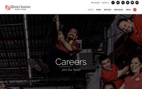 Screenshot of Jobs Page quinceimaging.com - Careers | Quince Imaging - captured July 25, 2018