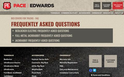 Screenshot of FAQ Page pace-edwards.com - Bed Covers For Trucks - Questions & Answers - captured Dec. 7, 2018