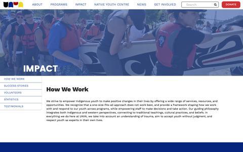 Screenshot of Testimonials Page unya.bc.ca - Impact   Urban Native Youth Association - captured Oct. 18, 2018