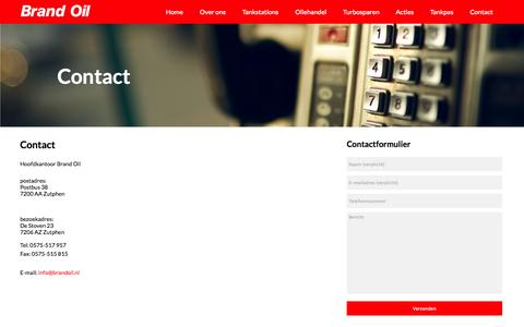 Screenshot of Contact Page brandoil.nl - Contact | Brand Oil - captured Oct. 29, 2014