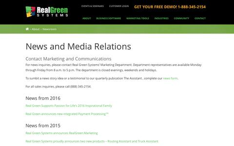 Screenshot of Press Page realgreen.com - News Room | Real Green Systems - captured Aug. 13, 2016