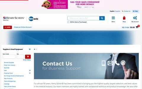 Screenshot of Contact Page henryschein.com - - Henry Schein Dental - captured May 11, 2019