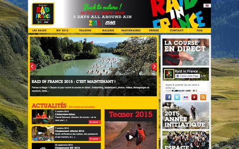Screenshot of Home Page raidinfrance.com - Raid In France - captured Oct. 8, 2015