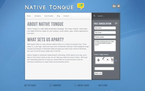 Screenshot of About Page nativetongue.net - About - Native Tongue - captured Oct. 29, 2014