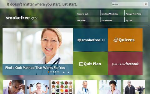 Screenshot of Home Page smokefree.gov - Smokefree.gov - captured Sept. 24, 2014