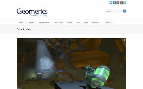 Screenshot of Case Studies Page geomerics.com - Case Studies | Geomerics, an ARM Company - captured Dec. 8, 2015