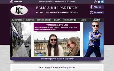 Screenshot of Home Page ellisandkillpartrick.com - Ellis & Killpartrick Opticians - Cheltenham, Bristol - captured Oct. 2, 2014