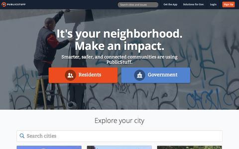 Screenshot of Home Page publicstuff.com - PublicStuff - captured Jan. 14, 2015