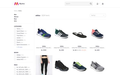 Screenshot of myntra.com - Adidas - Exclusive Adidas Online Store in India at Myntra - captured March 22, 2017
