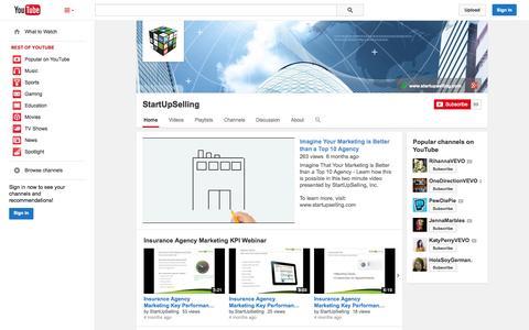 Screenshot of YouTube Page youtube.com - StartUpSelling  - YouTube - captured Nov. 5, 2014