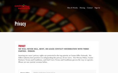 Screenshot of Privacy Page casinooffernetwork.com - Privacy | Casino Offer Network - captured Sept. 29, 2014